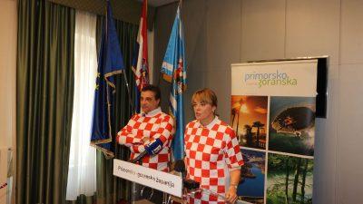 """Podrška """"vatrenima"""" i iz ureda Županije: Fabijanić i Stilin tiskovnu konferenciju odradili u """"kockastim"""" dresovima"""