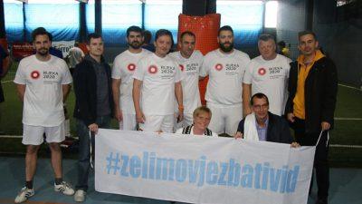"""Na malonogometnom turniru u sklopu humanitarne akcije """"Želimo vježbati vid"""" sudjelovale su brojne osobe iz javnog, sportskog i političkog života Rijeke"""