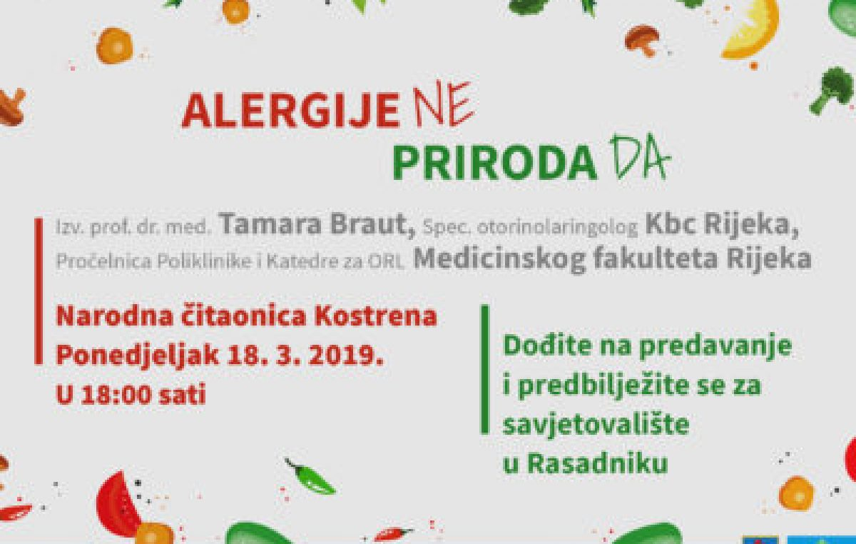 """Predavanje """"Alergije NE, Priroda da"""" održat će se u ponedjeljak u Kostreni"""