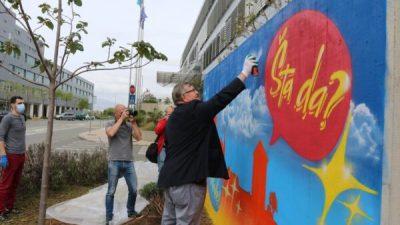 Riječki umjetnik Mosk oslikao grafit 'Grad za mlade' na Kampusu, Vojko Obersnel 'docrtao' galeba