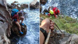 Plima ih zarobila na stijeni okruženoj morem ispod strme litice